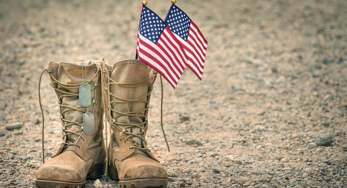 American flags in a pair of military boots